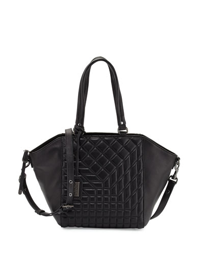 Frankie Quilted Leather Satchel Bag, Black