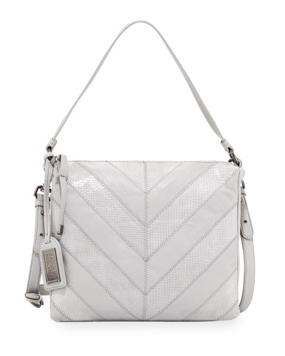 Remy Chevron Snake-Embossed Crossbody Bag, Dove