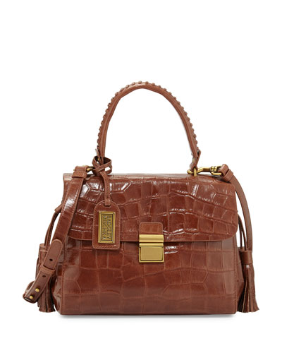 Emma Crocodile Embossed Leather Satchel Bag, Cognac
