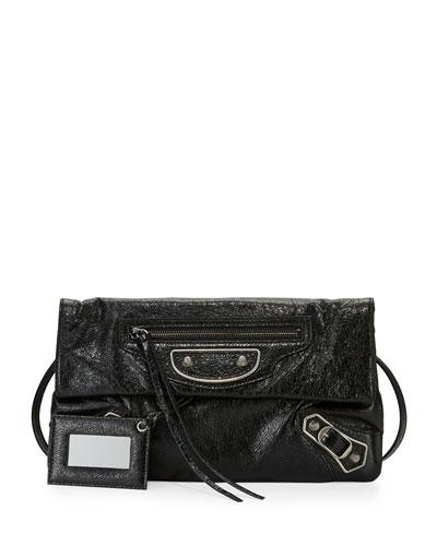 Metallic Edge Lambskin Envelope Clutch Bag, Black/Palladium