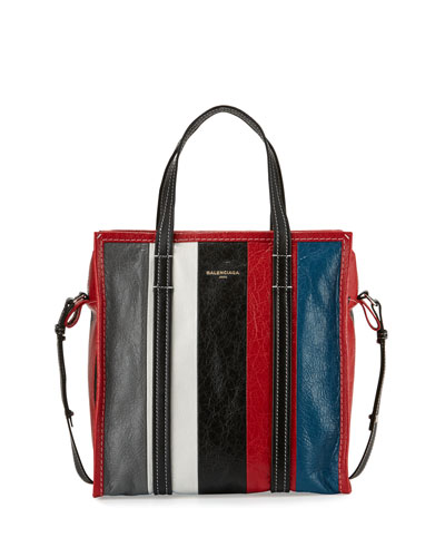 Bazar Shopper Small Striped Leather Shopper Tote Bag, Gray/White/Black/Blue ...