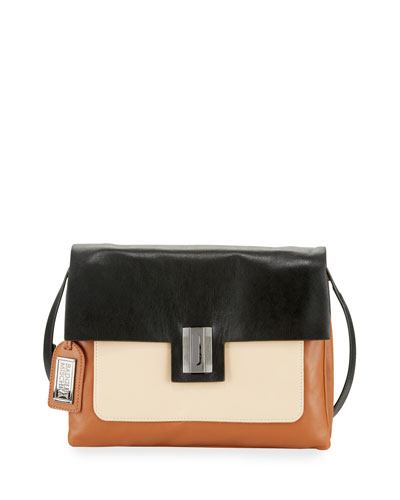 Janine Colorblock Leather Crossbody Bag, Black/White/Dove