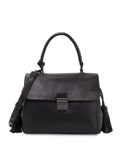 Emma Leather Satchel Bag, Black
