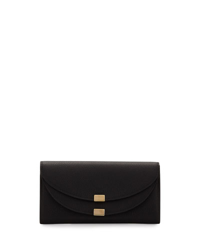 Georgia Leather Flap Wallet, Black