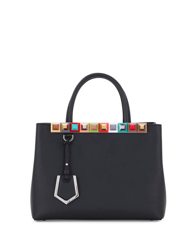 2Jours Petite Studded Leather Tote Bag, Black