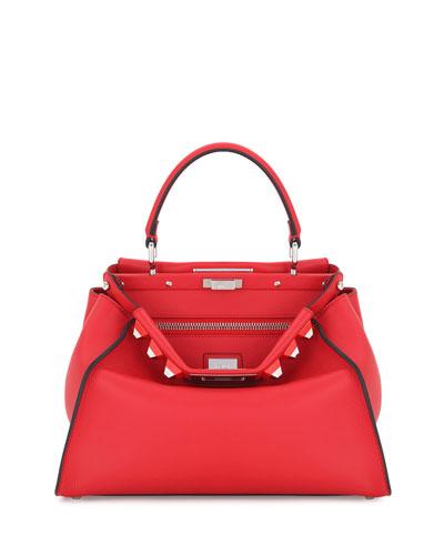 Peekaboo Medium Studded Leather Satchel Bag, Pink
