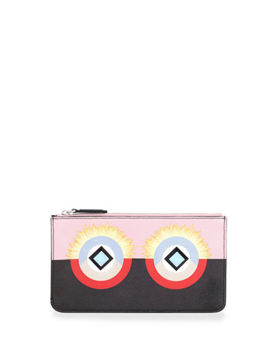 Monster Flat Zip Pouch Bag, Pink/Black