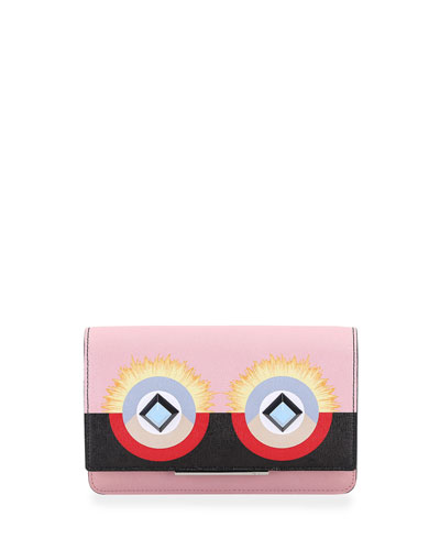Monster Leather Flap Wallet-on-Chain, Pink/Black