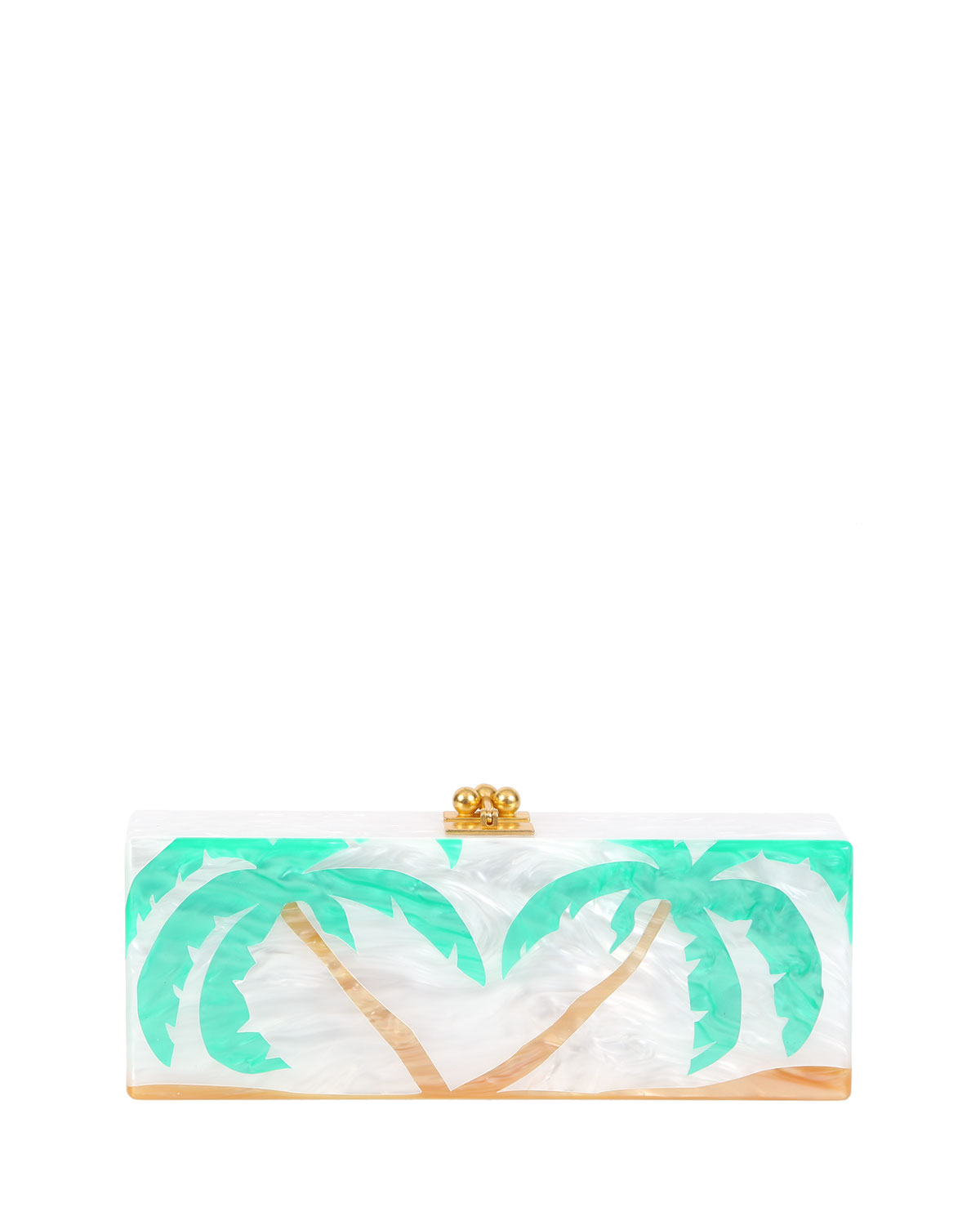 Flavia Palms Acrylic Clutch Bag, White Pearlescent