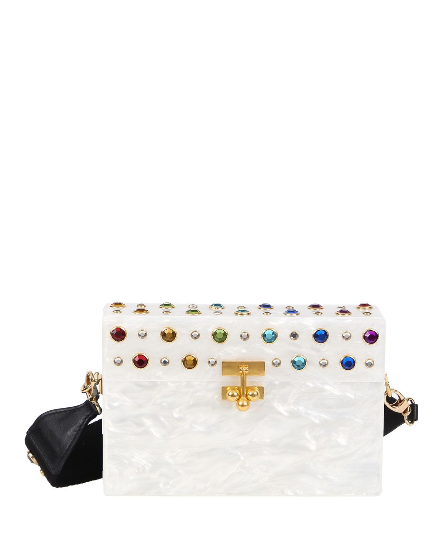 Small Trunk Studded Crossbody Bag, White/Rainbow