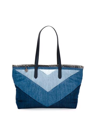Falabella East-West Denim Shopper Tote Bag, Blue