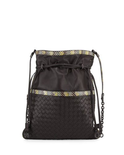 Small Snakeskin-Trim Intrecciato Bucket Bag, Brown/Yellow