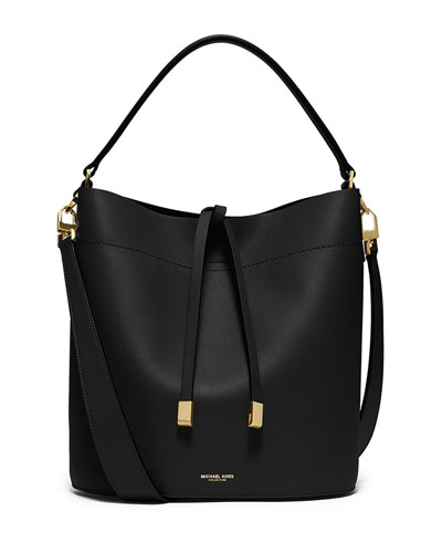 Miranda Medium Leather Shoulder Bag, Black