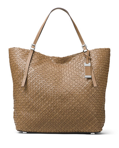Hutton Large Woven Leather Tote Bag, Luggage