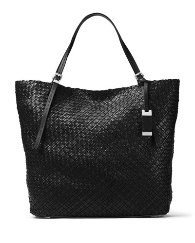 Hutton Large Woven Leather Tote Bag, Black