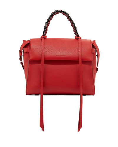 Angel Madras Top-Handle Satchel Bag, Lips