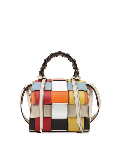 Angel Mini Woven Top-Handle Satchel Bag, Multicolor