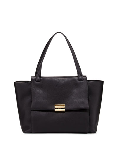 Bitter Large Gancio Leather Tote Bag, Nero