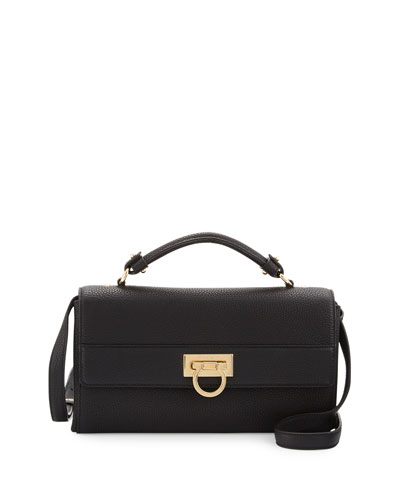 Ably Gancio Leather Satchel Bag, Nero