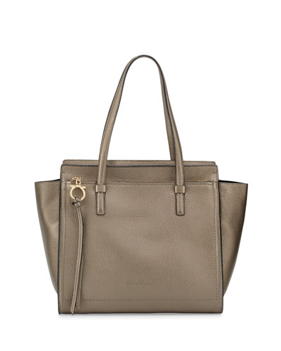 Amy Medium Gancio Leather Tote Bag, Graphite