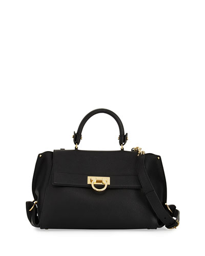 Sofia Medium Flap Satchel Bag, Nero