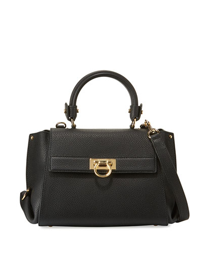 Sofia Small Leather Satchel Bag, Nero