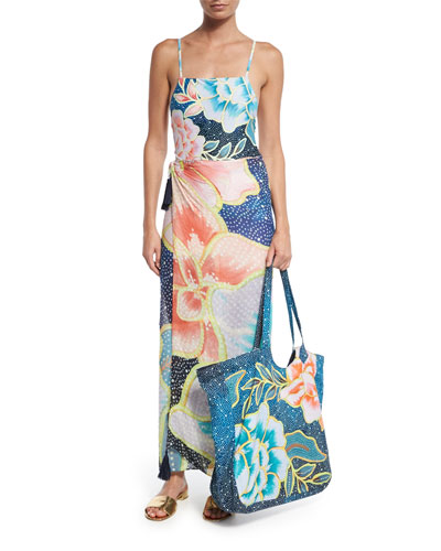 Arcadia Floral-Print Beach Tote Bag