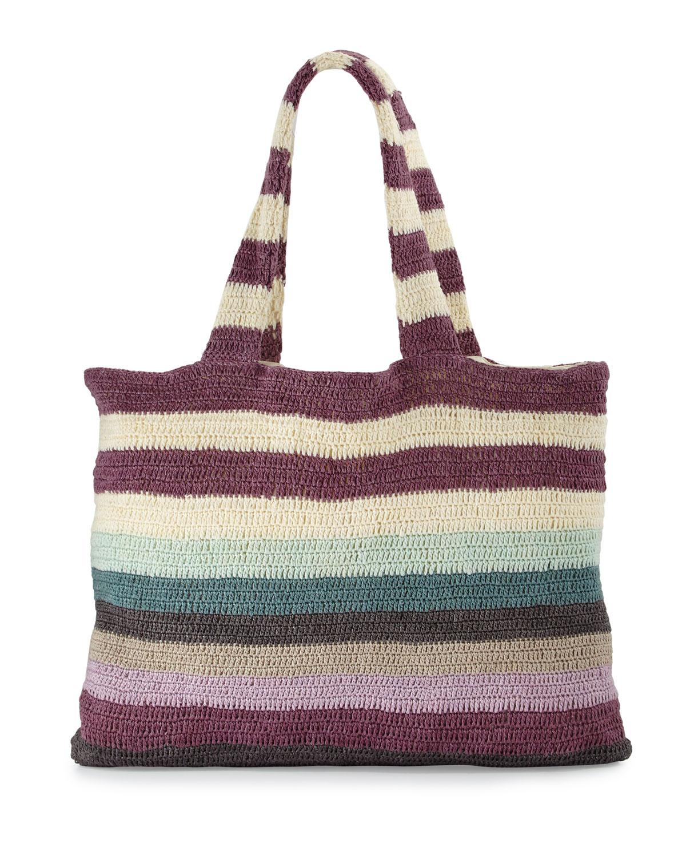 Striped Crochet Beach Tote Bag