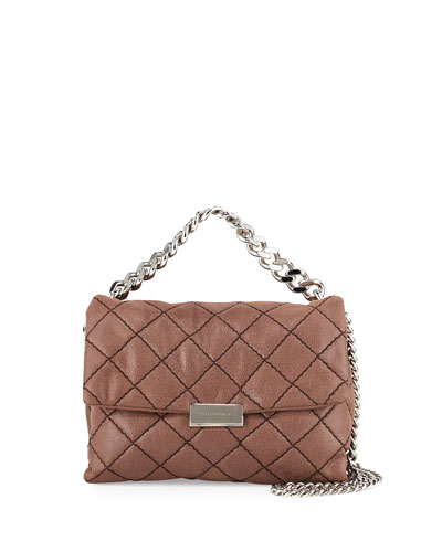 Bex Small Quilted Flap Shoulder Bag, Dark Taupe