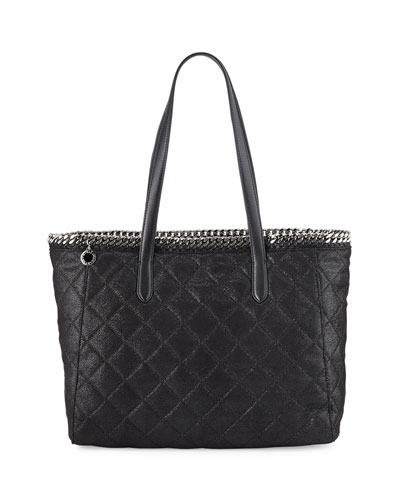 Falabella East-West Quilted Tote Bag, Black