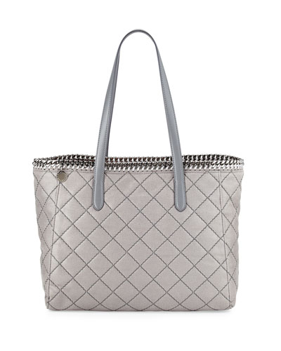 Falabella East-West Quilted Tote Bag, Light Gray