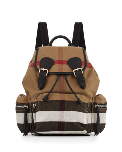 Medium Check Canvas Backpack, Black
