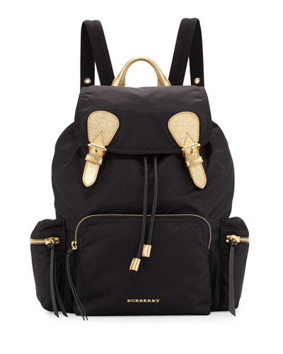 Medium Rucksack Runway Nylon Backpack, Black/Gold
