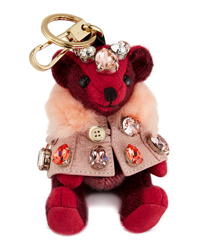 Thomas Cape Bear Bag Charm, Fuchsia Pink