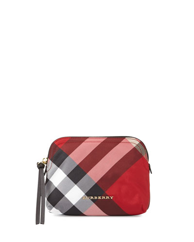 Medium Zip-Top Check Pouch Bag, Parade Red