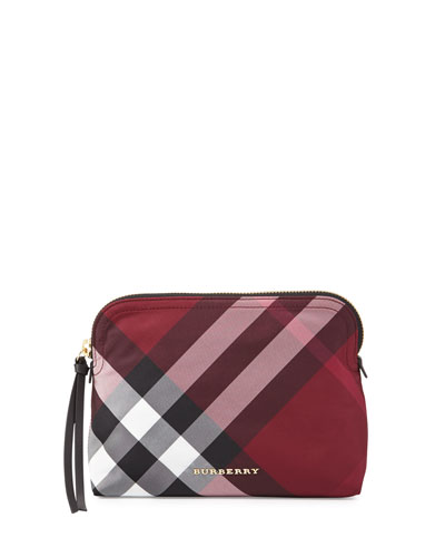 Large Zip-Top Check Pouch Bag, Plum