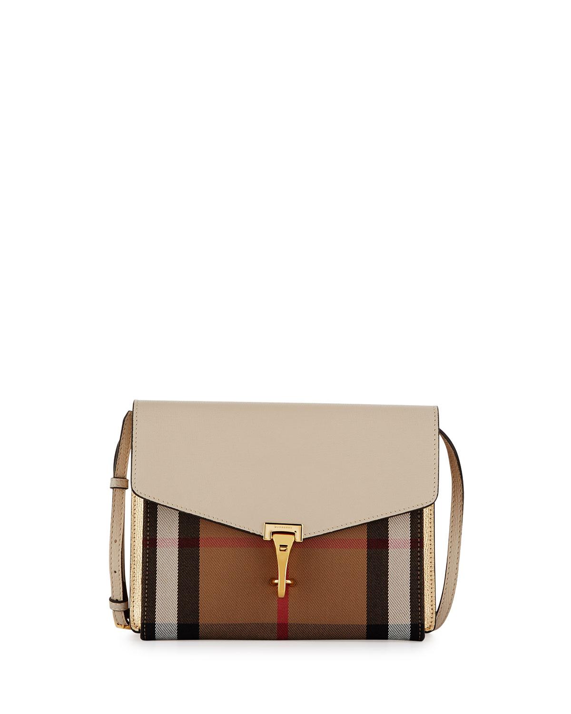 6340564d2f Macken Small Leather & House Check Crossbody Bag, Limestone
