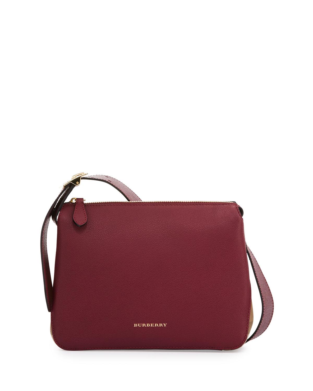 0f26d79b83 Helmsley Small Leather & House Check Crossbody Bag, Dark Plum