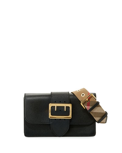 Buckle Small Leather Shoulder Bag, Black