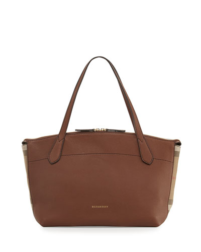 Welburn Medium Leather & Check Tote Bag, Tan