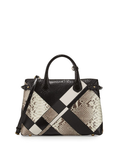 Banner Medium Patchwork Python Tote Bag, Black/White
