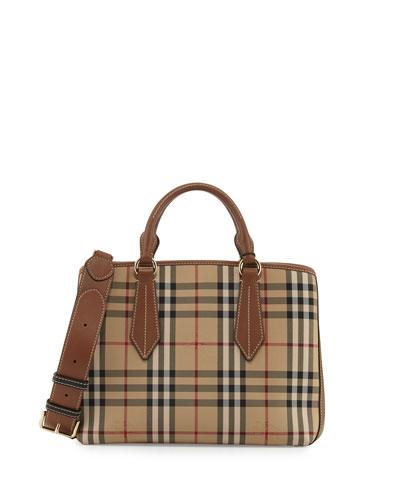 Ballingdon Medium House Check Tote Bag, Honey/Tan