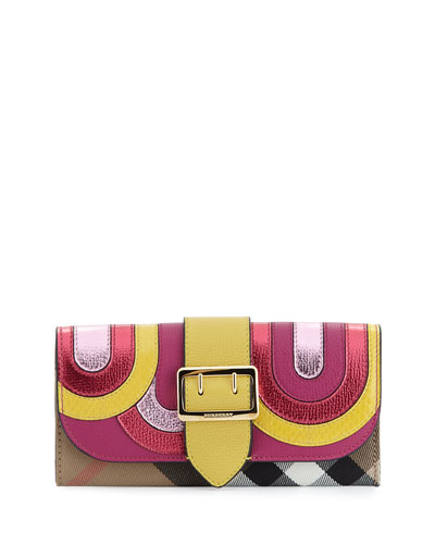 Halston House Check Pop Elements Flap Wallet, Bright Pink