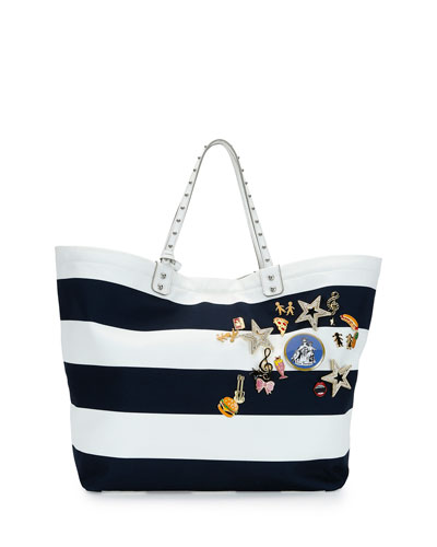 Marina Embellished Striped Tote Bag, Blue/White