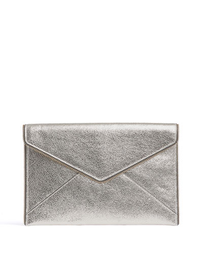 Leo Metallic Leather Clutch Bag, Champagne