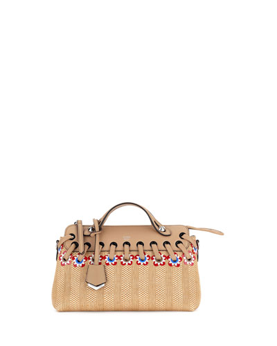 By the Way Small Floral Straw Satchel Bag, Natural/Multi