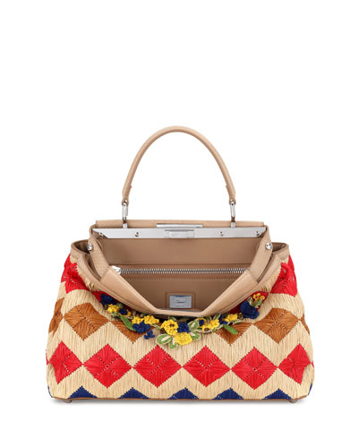 Peekaboo Medium Floral Raffia Satchel Bag, Natural/Multi