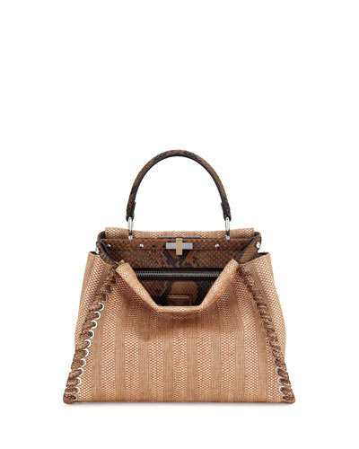 Peekaboo Medium Straw & Python Whipstitch Satchel Bag, Natural/Brown