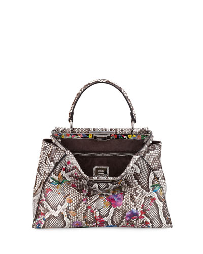 Peekaboo Medium Floral Python Satchel Bag, Natural/Multi