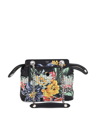 Dotcom Click Small Floral Quilted Chain Shoulder Bag, Black/Multi